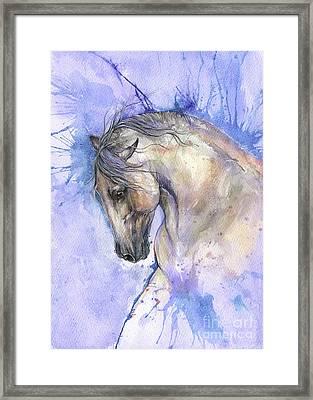 White Horse On Purple Background 2017 06 02 Framed Print