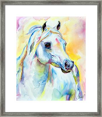 White Horse Portrait Framed Print by Christy  Freeman