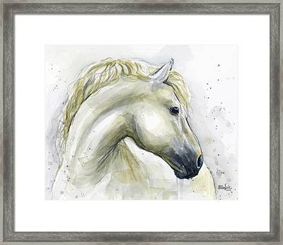 White Horse Watercolor Framed Print by Olga Shvartsur