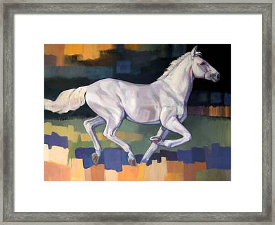 White Horse2 Framed Print by Farhan Abouassali