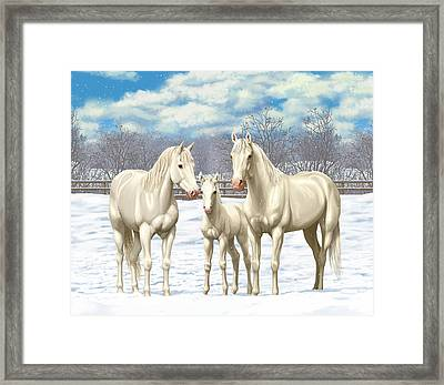 White Horses In Winter Pasture Framed Print by Crista Forest