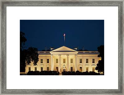 White House At Twilight Framed Print by Andrew Soundarajan