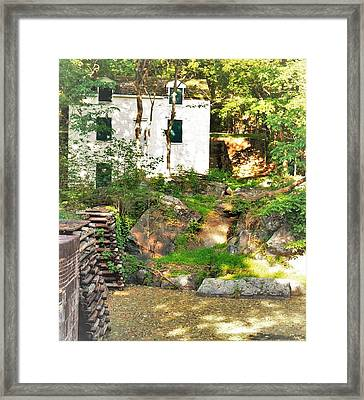 White House Green Shutters Hidden In The Woods By A Canal Framed Print by Rick Grossman