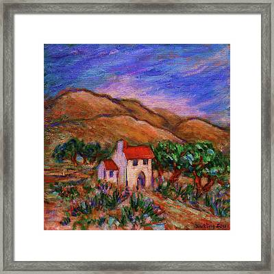 Framed Print featuring the painting White House In An Oak Grove by Xueling Zou
