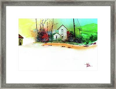 Framed Print featuring the painting White Houses by Anil Nene
