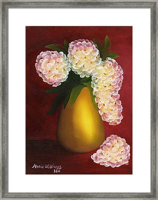White Hydrangeas In A Golden Vase Framed Print by Maria Williams