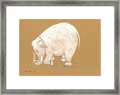 White Indian Elephant Framed Print by Juan Bosco