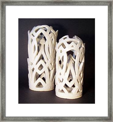 White Interlaced Sculptures Framed Print