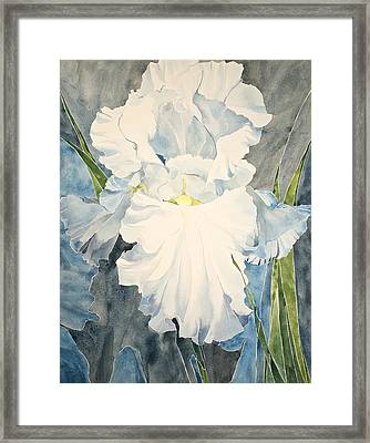 Framed Print featuring the painting White Iris - For Van Gogh - Posthumously Presented Paintings Of Sachi Spohn   by Cliff Spohn