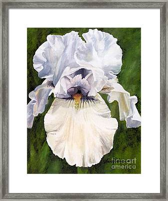 Framed Print featuring the painting White Iris by Laurie Rohner