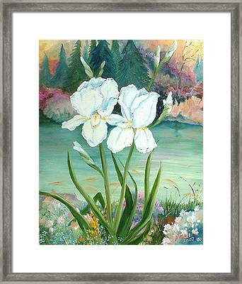 White Iris Love Framed Print