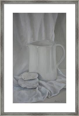 White Jug And Pebbles Framed Print
