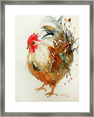 White Knight Rooster Framed Print by Arti Chauhan