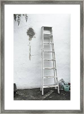 White Ladder Framed Print by Tom Singleton