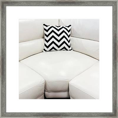 White Leather Sofa With Decorative Cushion Framed Print