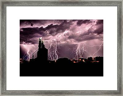 White Lightening Over Elevator Framed Print