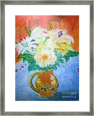 White Lilies In Olive Jug Framed Print