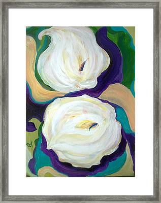 White Lilies In Purple Chiffon With Torquoise Blue Framed Print by Patricia Taylor