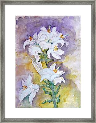 White Lilies Framed Print by Jasna Dragun