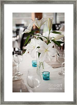 White Lilium Lily Flowers In Glass Vase  Framed Print