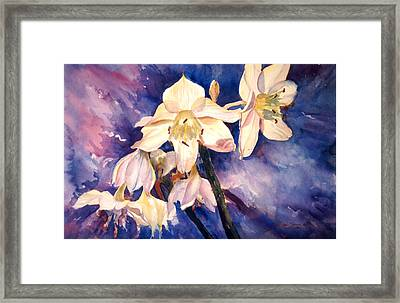 White Lillies Framed Print by Estela Robles