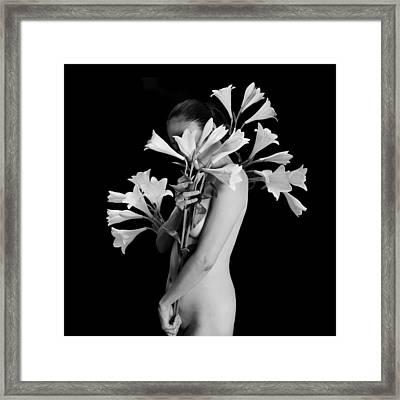 White Lily Framed Print by Mayumi Yoshimaru