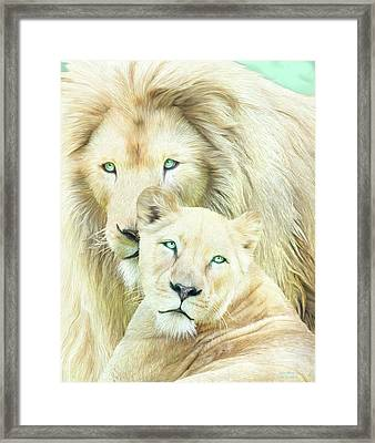 Framed Print featuring the mixed media White Lion Family - Mates by Carol Cavalaris