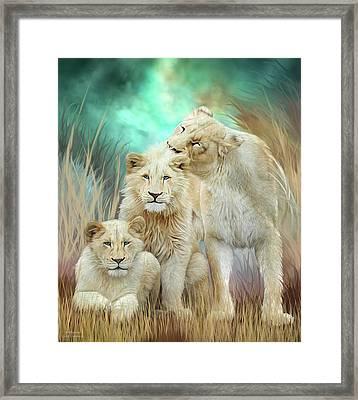 White Lion Family - Mothering Framed Print