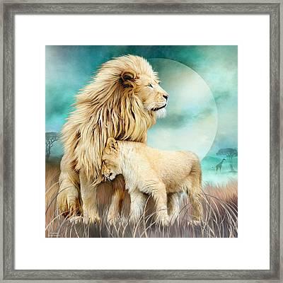 White Lion Family - Protection Framed Print