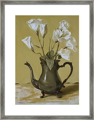 White Lisianthus In Silver Coffeepot Framed Print