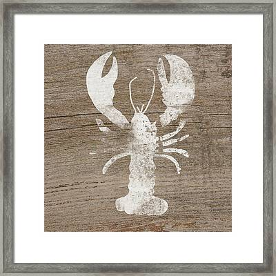White Lobster On Wood- Art By Linda Woods Framed Print by Linda Woods