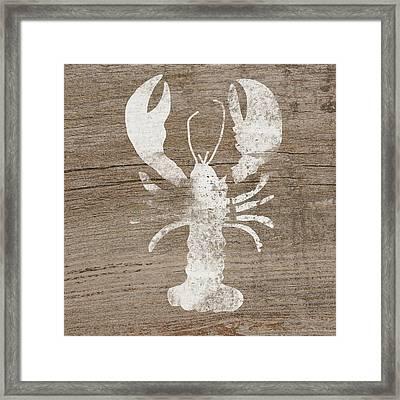 White Lobster On Wood- Art By Linda Woods Framed Print