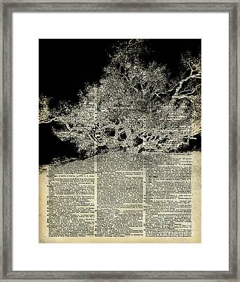 White Lonley Tree Dictionary Art Framed Print by Jacob Kuch