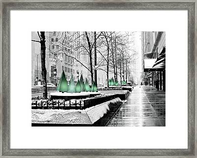 White Mag Mile Christmas Framed Print