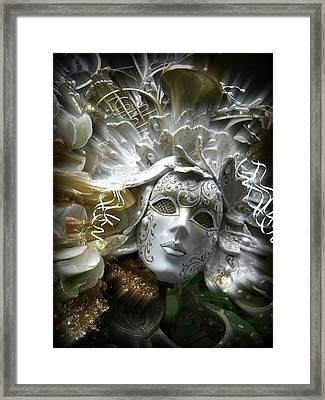 Framed Print featuring the photograph White Masked Celebration by Amanda Eberly-Kudamik