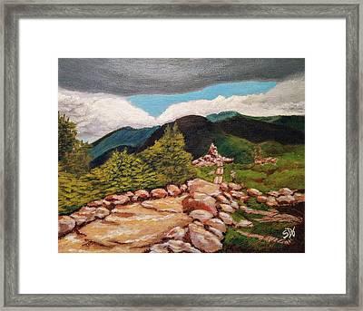 White Mountains Hiking Trail Framed Print by Sheri Doyon