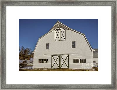 White New England Horse Barn Vermont Framed Print by Edward Fielding