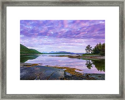 White Night In Nordkilpollen Cove Framed Print