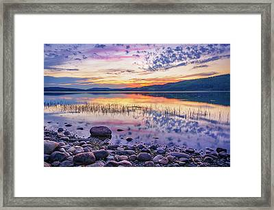 Framed Print featuring the photograph White Night Sunset On A Swedish Lake by Dmytro Korol