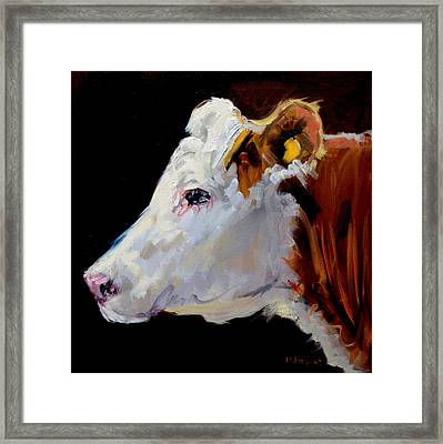 White On Brown Cow Framed Print