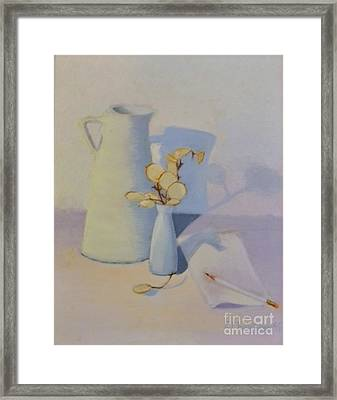 White On White Still Life Framed Print by Emily Michaud