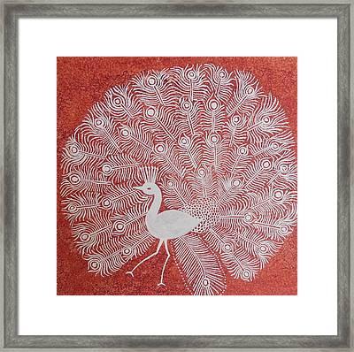 White Peacock Dance- Original Warli Painting Framed Print by Aboli Salunkhe