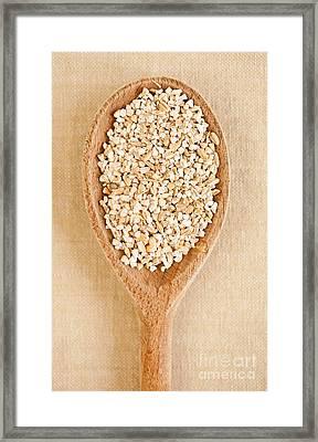 White Pearled Barley Groats Framed Print by Arletta Cwalina
