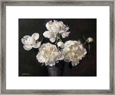 White Peonies Alone Framed Print