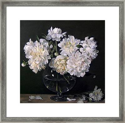 White Peonies Are Ready To Explode Framed Print