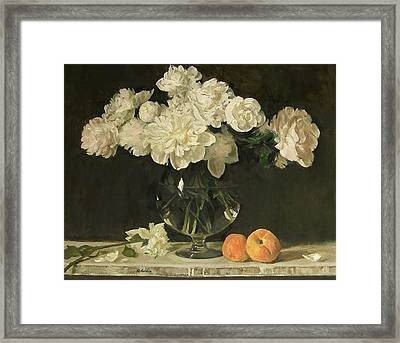 White Peonies In Giant Snifter With Peaches Framed Print