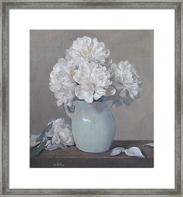 Gray Day For White Peonies Framed Print