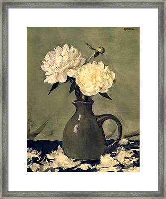 White Peonies In Small Green Pitcher Framed Print