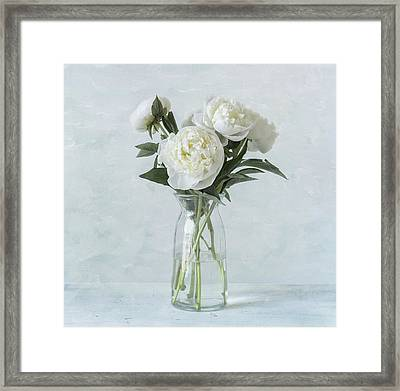 White Peony Bouquet Framed Print