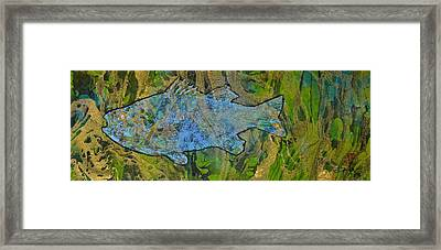 White Perch On Marbleized Paper Framed Print